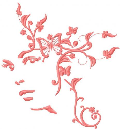 Woman and butterfly free embroidery design