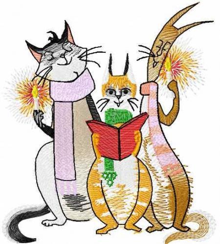 Three cats free machine embroidery design