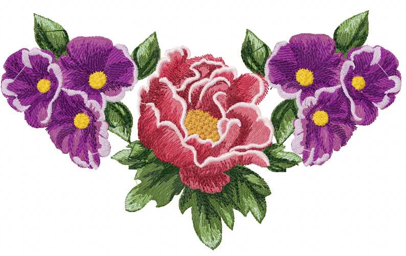 Violet flowers free machine embroidery design