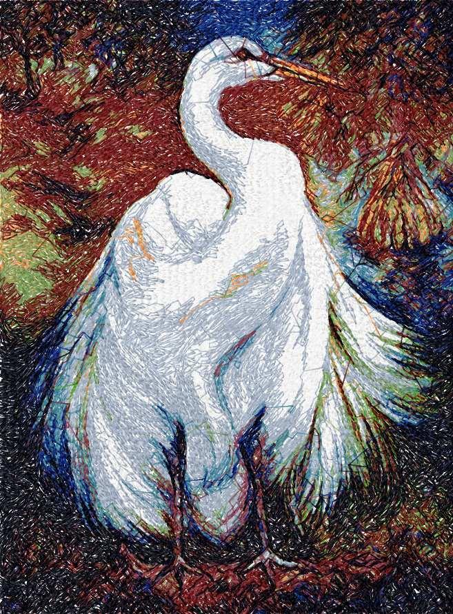 Big stork photo stitch free embroidery design