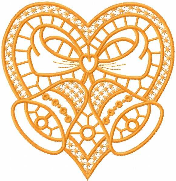 Christmas heart free machine embroidery design