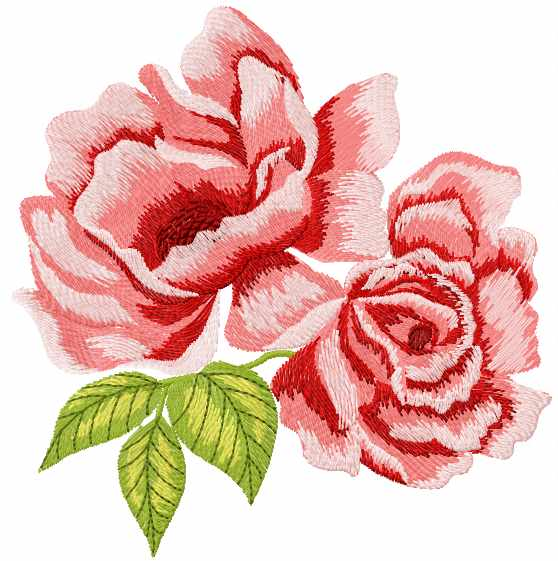 Two Red Roses Free Machine Embroidery Design Flowers Machine