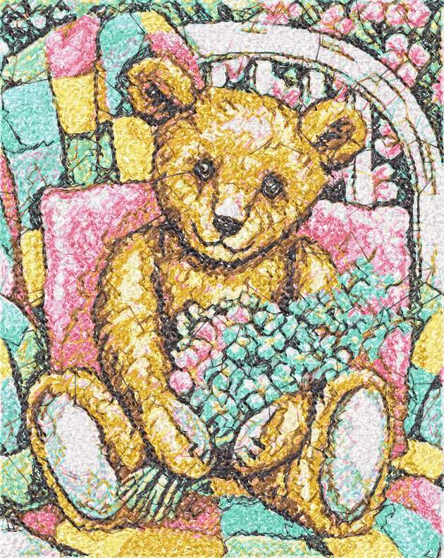 Teddy Bear with flowers photo stitch free embroidery design