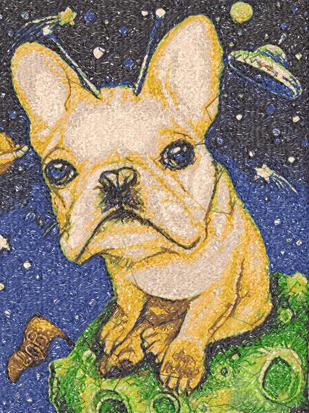 UFO Bulldog photo stitch free embroidery design