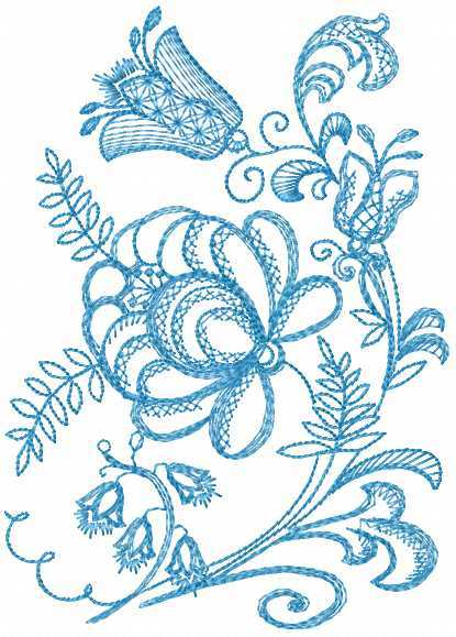 Blue flowers free embroidery design