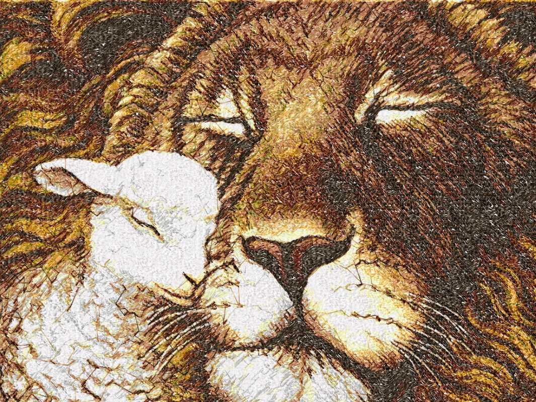 Lion And Lamb Photo Stitch Free Embroidery Design