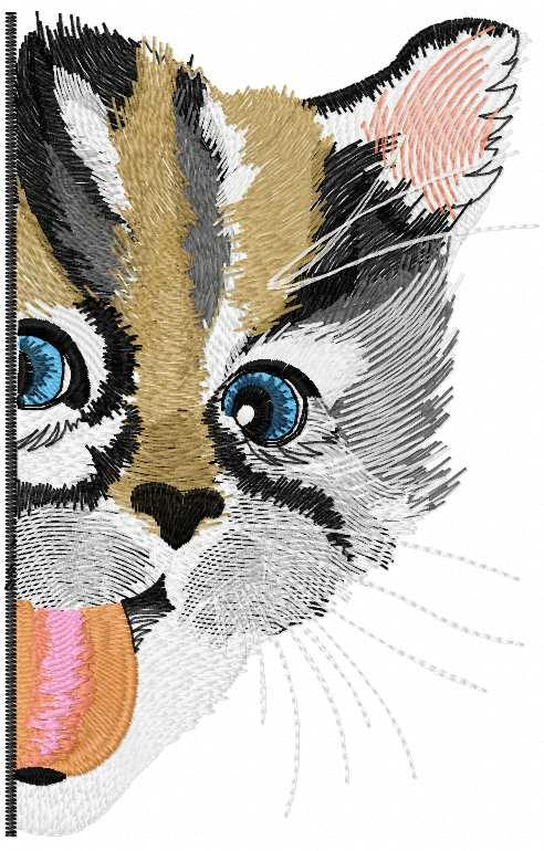 Funny kitty free embroidery design