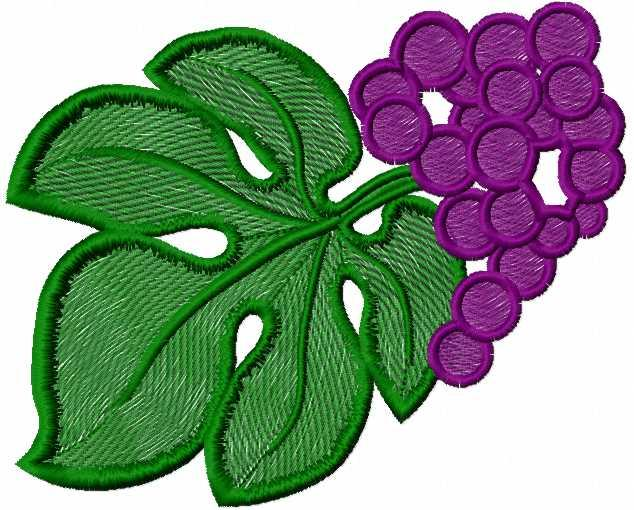 Grape and leaf free embroidery design