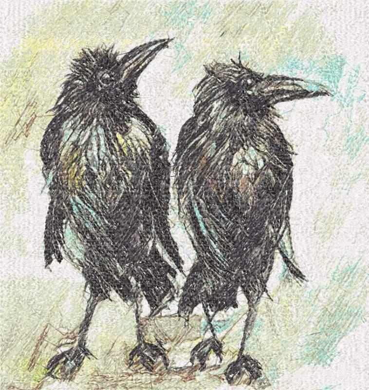 Ravens under rain photo stitch free embroidery design
