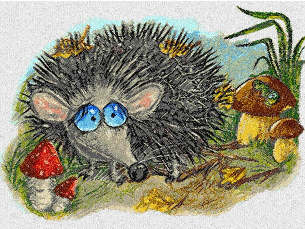 Autumn hedgehog photo stitch free embroidery design