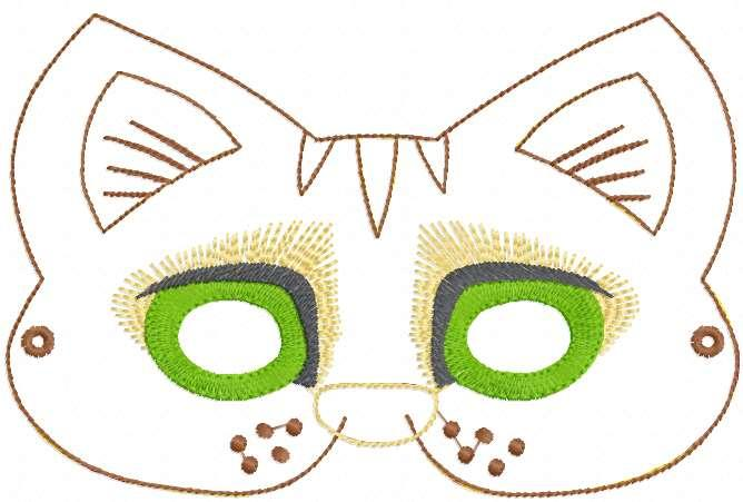 Cat mask applique free embroidery design