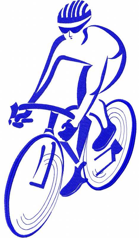 Racing cyclist free embroidery design