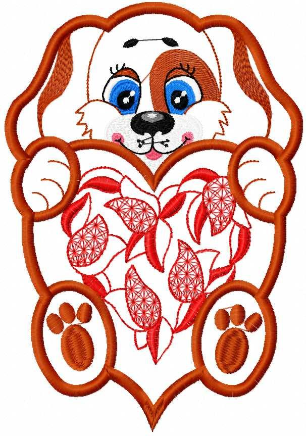 Dog with heart applique free embroidery design 2