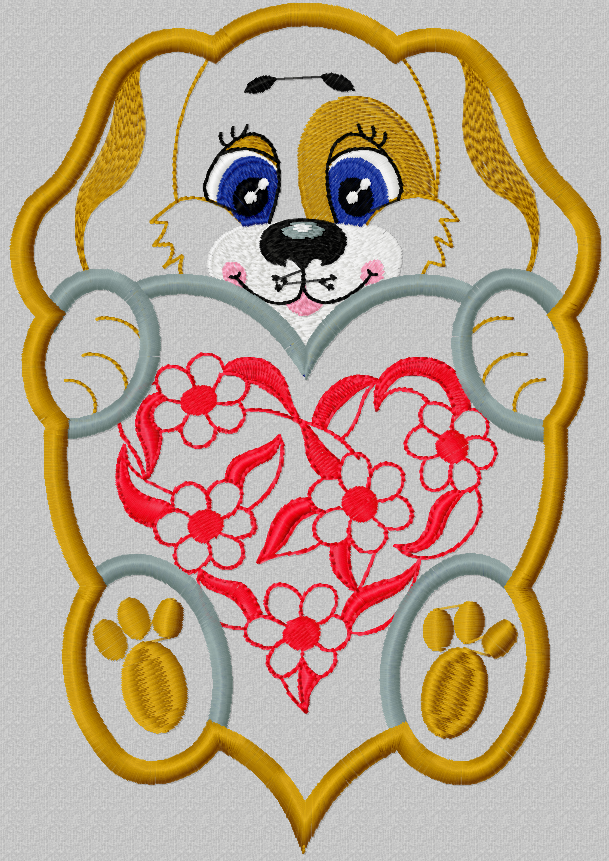 Dog with heart applique free embroidery design