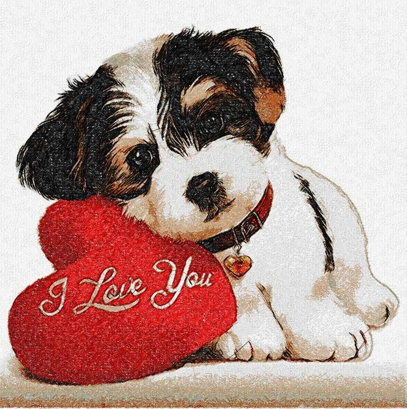 I love you photo stitch free embroidery design