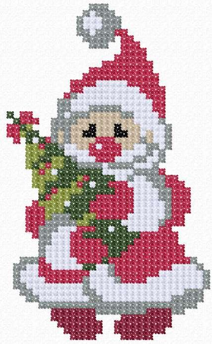 Santa Claus cross stitch free embroidery design