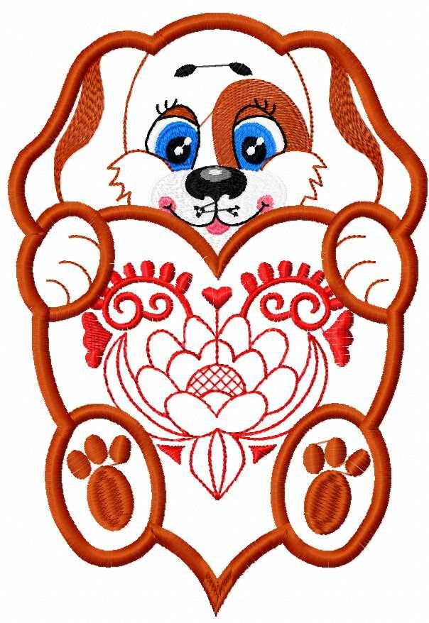 Dog with heart applique free embroidery design 3