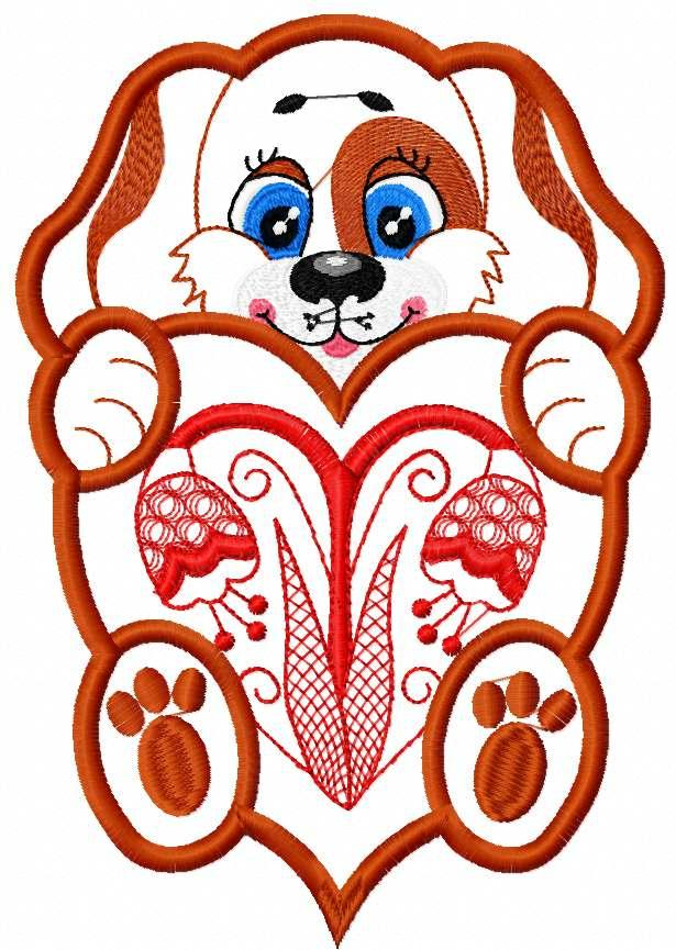 Dog with heart applique free embroidery design 5