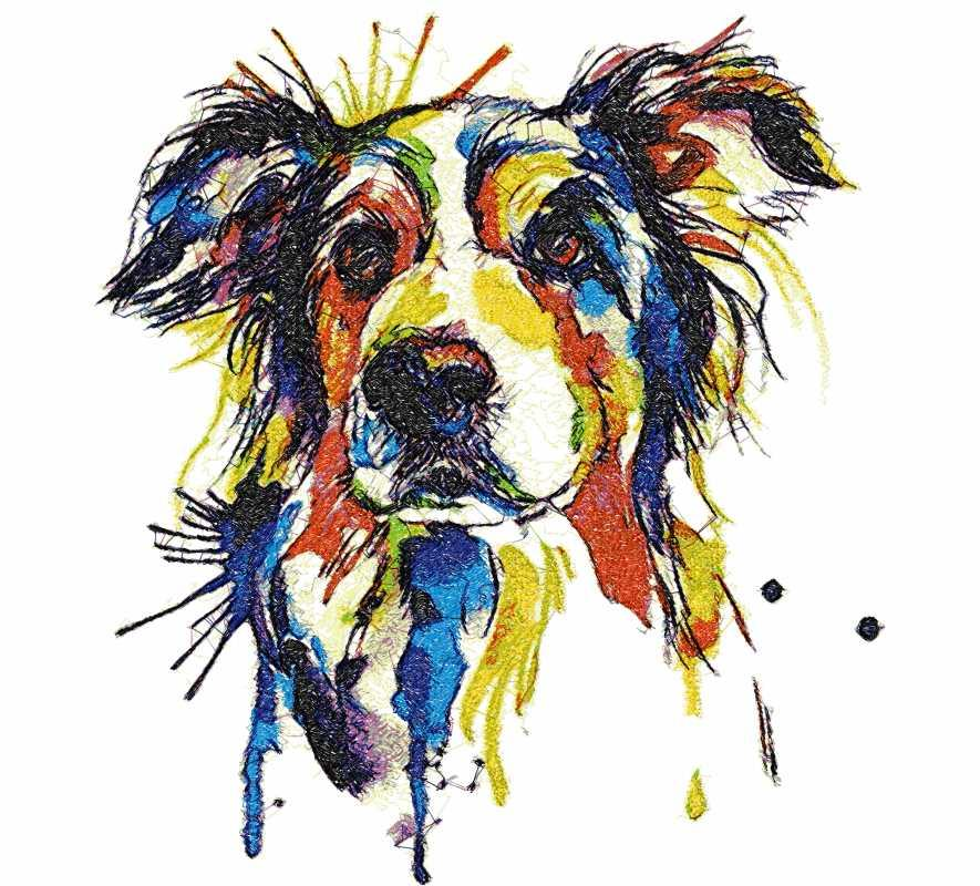 Rainbow dog photo stitch free embroidery design