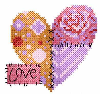 St. Valentine's Day heart cross stitch free embroidery design 2