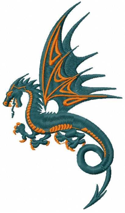 Dark blue dragon free embroidery design