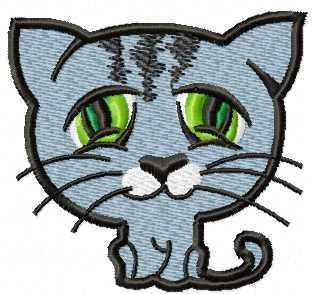 Blue cat with green eyes free embroidery design