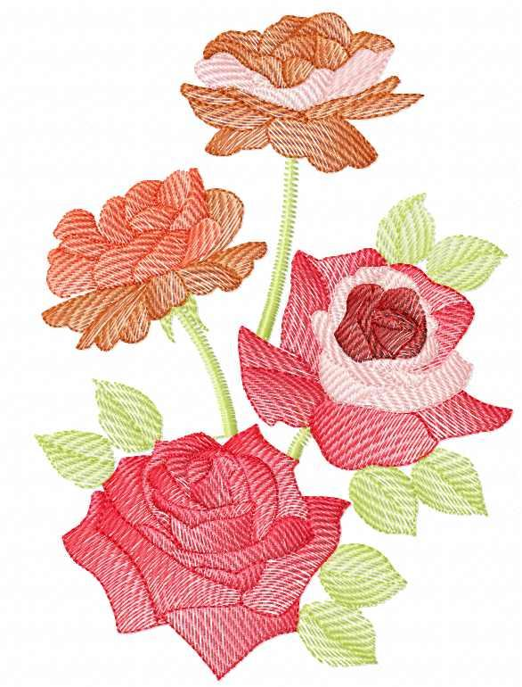Rose free embroidery design 28