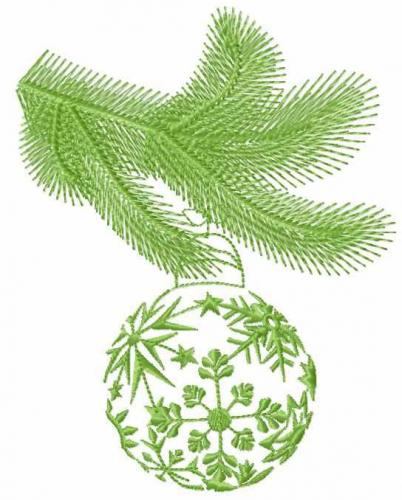 Christmas ball on a spruce branch free embroidery design