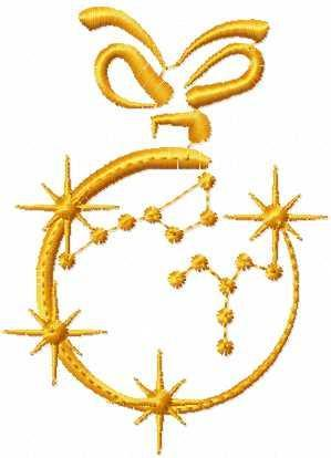 Gold Christmas ball free embroidery design