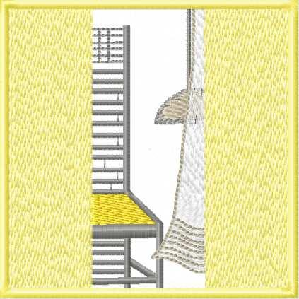 Chair and open window free embroidery design