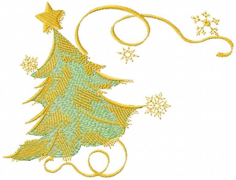 Christmas tree gold winter free embroidery design