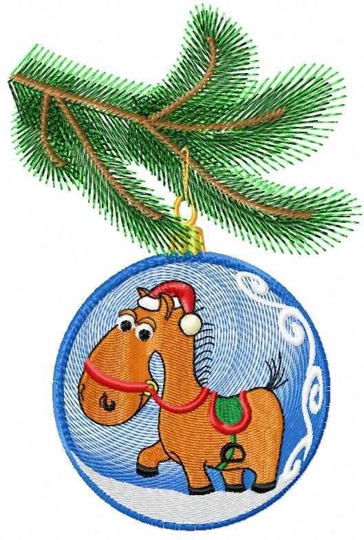 Christmas horse ball free embroidery design
