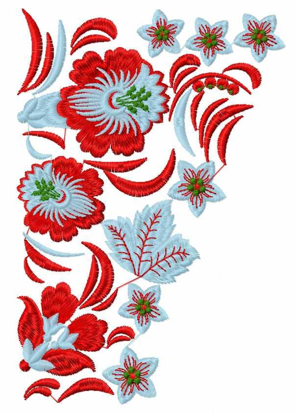 Blue and red flowers free embroidery design