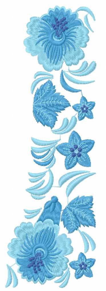 Blue flowers block free embroidery design