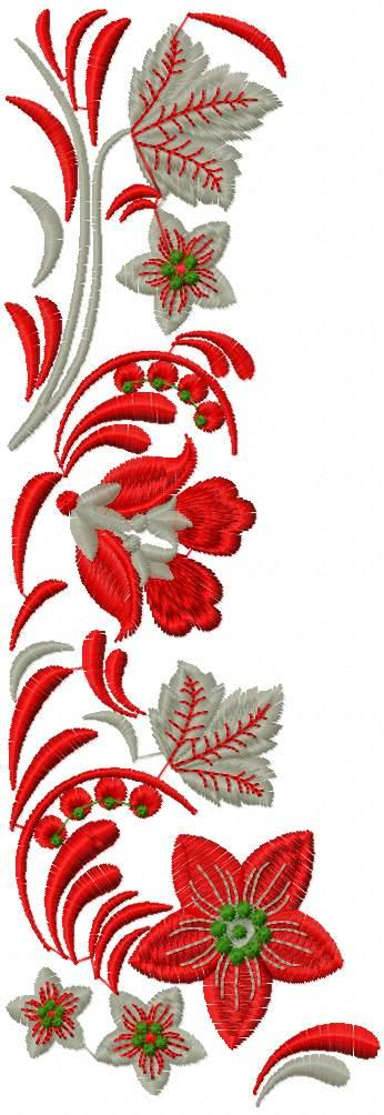 Grey and red flowers free embroidery design