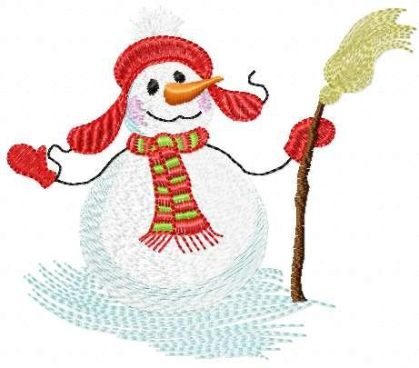 Happy snowmen free embroidery design