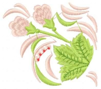 Pink flower and green leaf free embroidery design