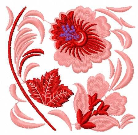 Red flowers block free embroidery design