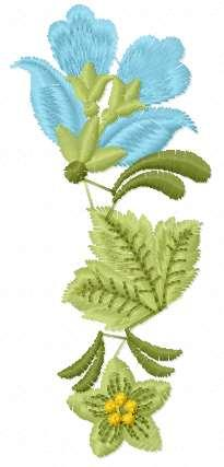 Blue flower and green leaf free embroidery design
