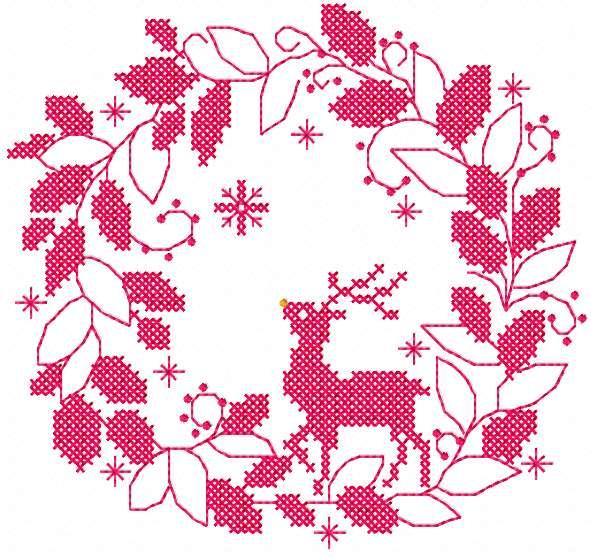 Christmas wreath deer free embroidery design