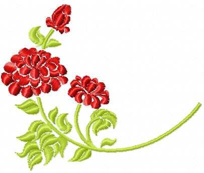 Red flower free embroidery design 19