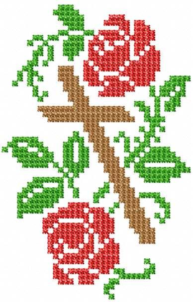 Cross and roses free embroidery design
