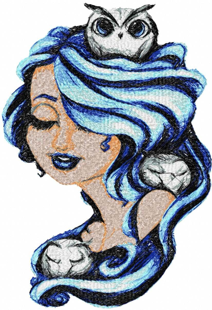 Girl with owls free embroidery design