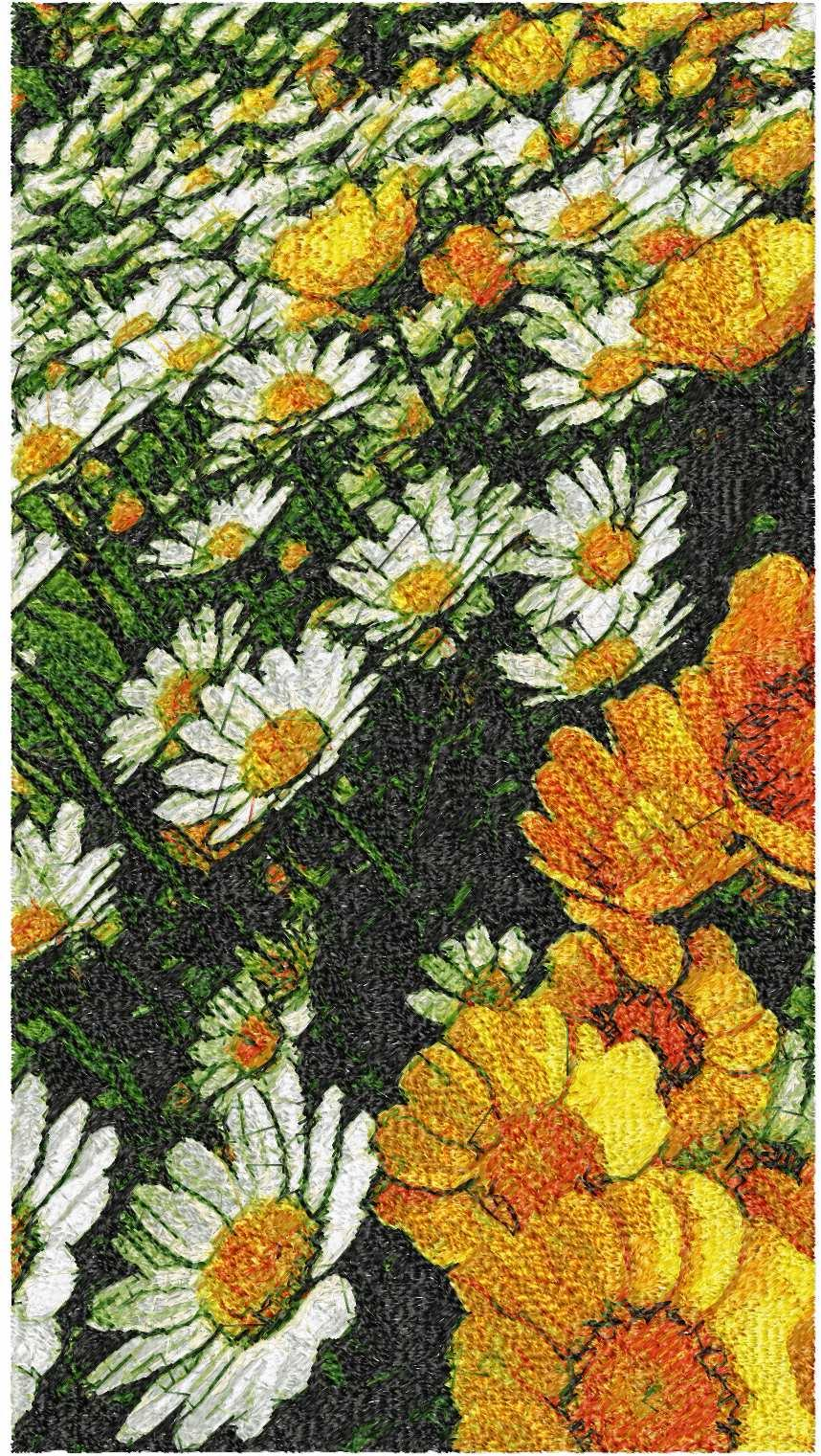 Summer meadow with flowers photo stitch free embroidery design