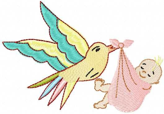 Bird present baby free embroidery design