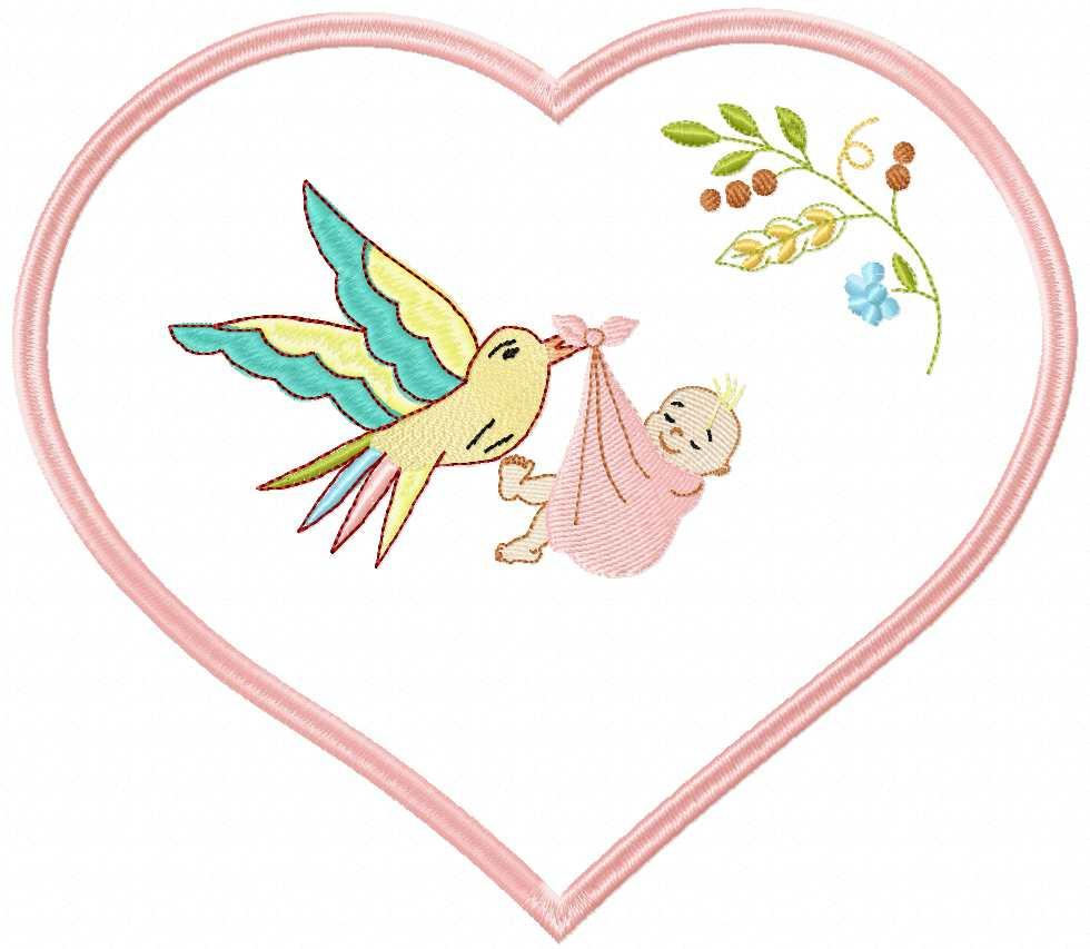 Bird  with baby free embroidery design