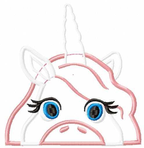 Hiding Unicorn applique free embroidery design