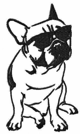 Bulldog in sunglasses free embroidery design