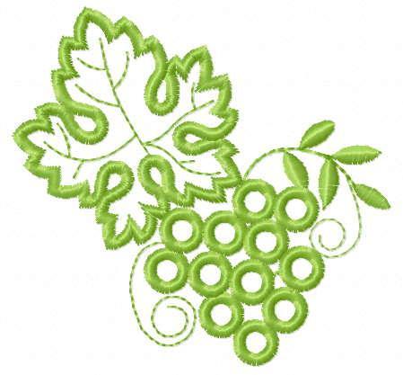 Grape branch applique free embroidery design