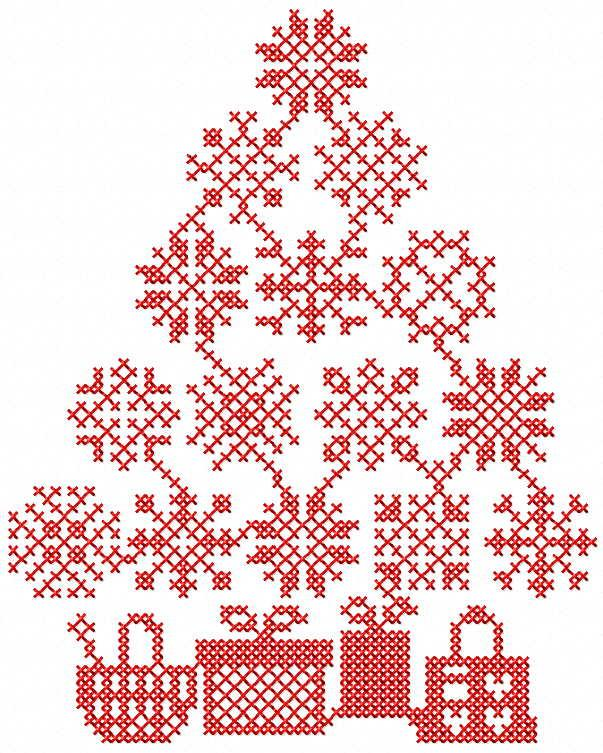 Christmas tree with gift boxes free embroidery design